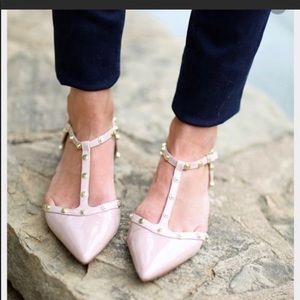 Halogen Nude Studded Pointed Toe Flat Size 7.5